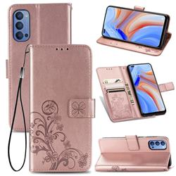 Embossing Imprint Four-Leaf Clover Leather Wallet Case for Oppo Reno4 - Rose Gold