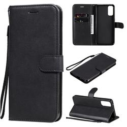 Retro Greek Classic Smooth PU Leather Wallet Phone Case for Oppo Reno4 5G - Black