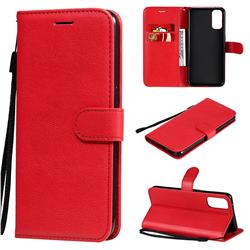 Retro Greek Classic Smooth PU Leather Wallet Phone Case for Oppo Reno4 5G - Red