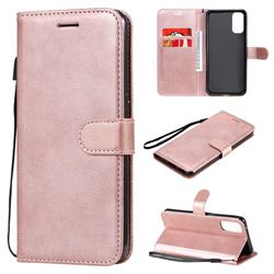 Retro Greek Classic Smooth PU Leather Wallet Phone Case for Oppo Reno4 5G - Rose Gold