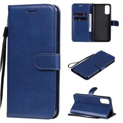 Retro Greek Classic Smooth PU Leather Wallet Phone Case for Oppo Reno4 5G - Blue