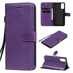 Retro Greek Classic Smooth PU Leather Wallet Phone Case for Oppo Reno4 5G - Purple