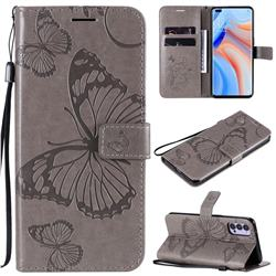 Embossing 3D Butterfly Leather Wallet Case for Oppo Reno4 5G - Gray