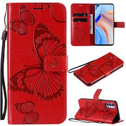 Embossing 3D Butterfly Leather Wallet Case for Oppo Reno4 5G - Red