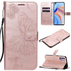 Embossing 3D Butterfly Leather Wallet Case for Oppo Reno4 5G - Rose Gold