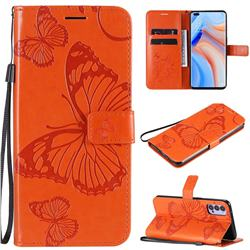 Embossing 3D Butterfly Leather Wallet Case for Oppo Reno4 5G - Orange