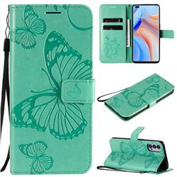 Embossing 3D Butterfly Leather Wallet Case for Oppo Reno4 5G - Green