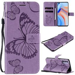 Embossing 3D Butterfly Leather Wallet Case for Oppo Reno4 5G - Purple