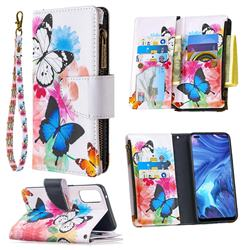 Vivid Flying Butterflies Binfen Color BF03 Retro Zipper Leather Wallet Phone Case for Oppo Reno4 5G