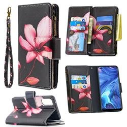 Lotus Flower Binfen Color BF03 Retro Zipper Leather Wallet Phone Case for Oppo Reno4 5G
