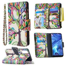 The Tree of Life Binfen Color BF03 Retro Zipper Leather Wallet Phone Case for Oppo Reno4 5G