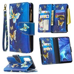 Golden Butterflies Binfen Color BF03 Retro Zipper Leather Wallet Phone Case for Oppo Reno4 5G