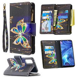 Golden Shining Butterfly Binfen Color BF03 Retro Zipper Leather Wallet Phone Case for Oppo Reno4 5G