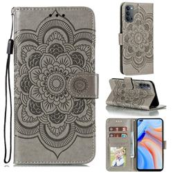 Intricate Embossing Datura Solar Leather Wallet Case for Oppo Reno4 5G - Gray