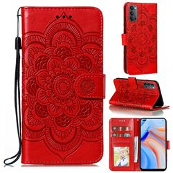 Intricate Embossing Datura Solar Leather Wallet Case for Oppo Reno4 5G - Red