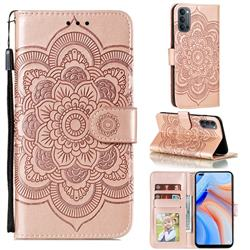 Intricate Embossing Datura Solar Leather Wallet Case for Oppo Reno4 5G - Rose Gold