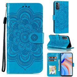 Intricate Embossing Datura Solar Leather Wallet Case for Oppo Reno4 5G - Blue