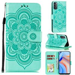 Intricate Embossing Datura Solar Leather Wallet Case for Oppo Reno4 5G - Green