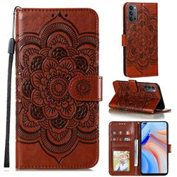Intricate Embossing Datura Solar Leather Wallet Case for Oppo Reno4 5G - Brown