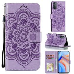 Intricate Embossing Datura Solar Leather Wallet Case for Oppo Reno4 5G - Purple