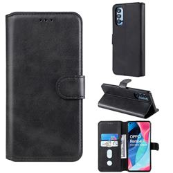 Retro Calf Matte Leather Wallet Phone Case for Oppo Reno4 Pro 5G - Black
