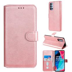 Retro Calf Matte Leather Wallet Phone Case for Oppo Reno4 Pro 5G - Pink