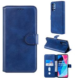 Retro Calf Matte Leather Wallet Phone Case for Oppo Reno4 Pro 5G - Blue
