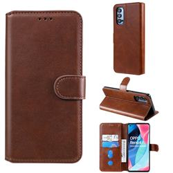 Retro Calf Matte Leather Wallet Phone Case for Oppo Reno4 Pro 5G - Brown