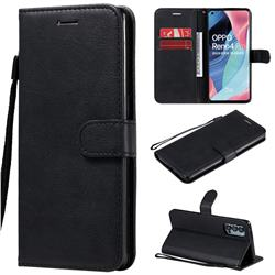 Retro Greek Classic Smooth PU Leather Wallet Phone Case for Oppo Reno4 Pro 5G - Black