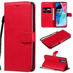 Retro Greek Classic Smooth PU Leather Wallet Phone Case for Oppo Reno4 Pro 5G - Red