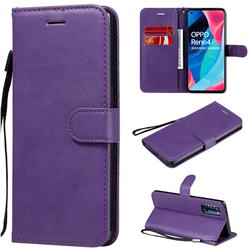 Retro Greek Classic Smooth PU Leather Wallet Phone Case for Oppo Reno4 Pro 5G - Purple