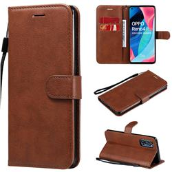 Retro Greek Classic Smooth PU Leather Wallet Phone Case for Oppo Reno4 Pro 5G - Brown