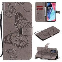 Embossing 3D Butterfly Leather Wallet Case for Oppo Reno4 Pro 5G - Gray