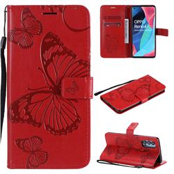 Embossing 3D Butterfly Leather Wallet Case for Oppo Reno4 Pro 5G - Red
