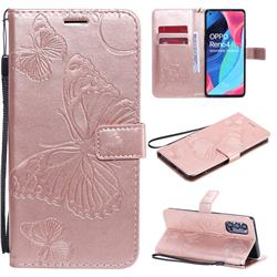 Embossing 3D Butterfly Leather Wallet Case for Oppo Reno4 Pro 5G - Rose Gold