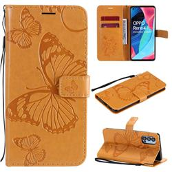 Embossing 3D Butterfly Leather Wallet Case for Oppo Reno4 Pro 5G - Yellow