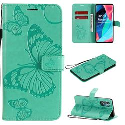 Embossing 3D Butterfly Leather Wallet Case for Oppo Reno4 Pro 5G - Green
