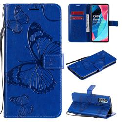 Embossing 3D Butterfly Leather Wallet Case for Oppo Reno4 Pro 5G - Blue