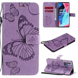 Embossing 3D Butterfly Leather Wallet Case for Oppo Reno4 Pro 5G - Purple