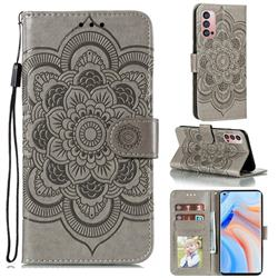 Intricate Embossing Datura Solar Leather Wallet Case for Oppo Reno4 Pro 5G - Gray