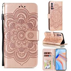 Intricate Embossing Datura Solar Leather Wallet Case for Oppo Reno4 Pro 5G - Rose Gold
