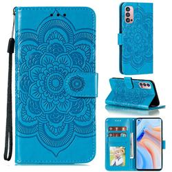 Intricate Embossing Datura Solar Leather Wallet Case for Oppo Reno4 Pro 5G - Blue