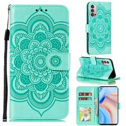 Intricate Embossing Datura Solar Leather Wallet Case for Oppo Reno4 Pro 5G - Green