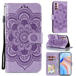 Intricate Embossing Datura Solar Leather Wallet Case for Oppo Reno4 Pro 5G - Purple