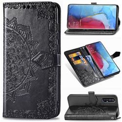 Embossing Imprint Mandala Flower Leather Wallet Case for Oppo Reno 3 Pro - Black