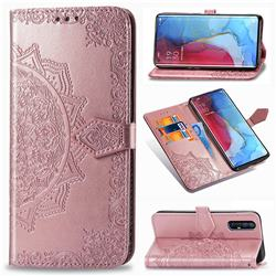 Embossing Imprint Mandala Flower Leather Wallet Case for Oppo Reno 3 Pro - Rose Gold