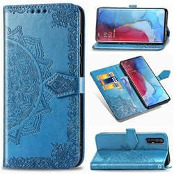 Embossing Imprint Mandala Flower Leather Wallet Case for Oppo Reno 3 Pro - Blue