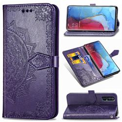 Embossing Imprint Mandala Flower Leather Wallet Case for Oppo Reno 3 Pro - Purple