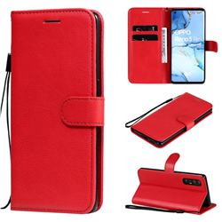 Retro Greek Classic Smooth PU Leather Wallet Phone Case for Oppo Reno 3 Pro 5G - Red