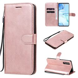 Retro Greek Classic Smooth PU Leather Wallet Phone Case for Oppo Reno 3 Pro 5G - Rose Gold